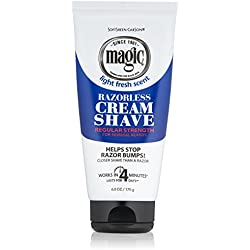 Razorless Shaving Cream for Men by SoftSheen-Carson Magic, Hair Removal Cream, Regular Strength for Normal Beards, No Razor Needed, Depilatory cream works in 4 Minutes for Coarse Curly Hair, 6 oz
