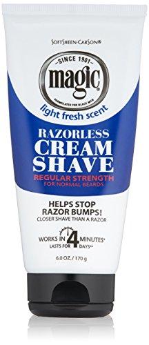 SoftSheen-Carson Magic Razorless Cream Shave - Regular Strength for Normal Beards, 6 oz - Magic Shave Shaving Powder
