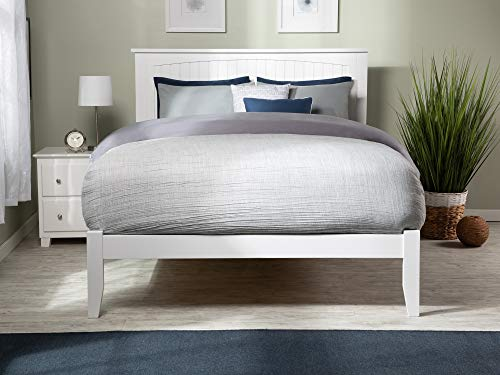 Atlantic Furniture Nantucket Platform Bed with Open Foot Board, Full, White