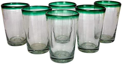 NOVICA Artisan Crafted Clear Green Glass Recycled Glasses set of 6 15 oz Conical