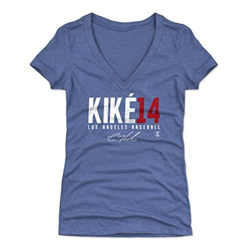 - 500 LEVEL Enrique Hernandez Women's V-Neck Shirt (Small, Tri Royal) - Los Angeles Baseball Shirt for Women - Enrique Hernandez Elite R WHT