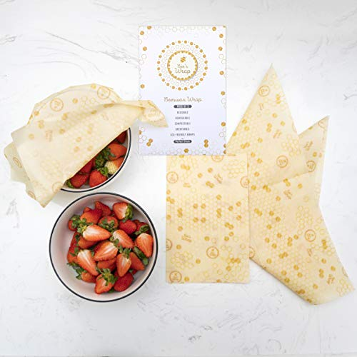 Bee's Wax Wrap Eco Friendly Reusable Food Wraps, Sustainable Plastic Free Food Storage