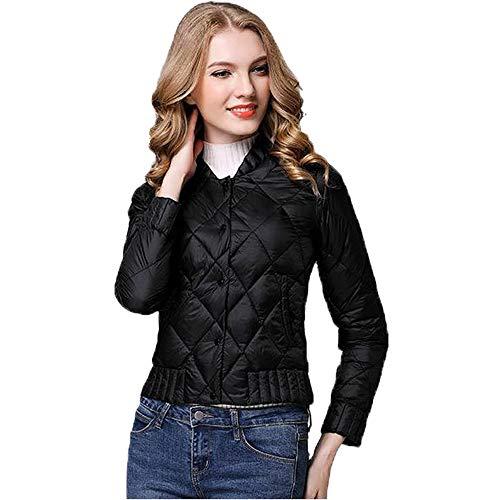 WUYEA Abrigo De Invierno De Las Mujeres Chaqueta Corta Chaquetas Ligeras Calientes Traje De Moda,Black,XL