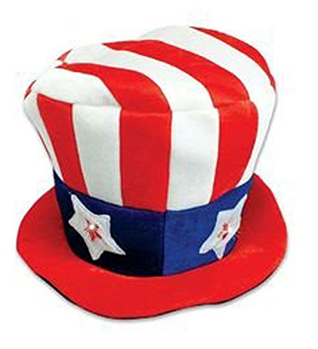 [Light up Uncle Sam Hat - Patriotic Hat] (Light Up Costumes For Adults)