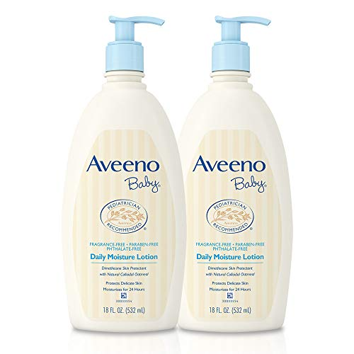 Moisture Baby Daily Lotion - Aveeno Baby Daily Moisture Lotion with Oatmeal & Dimethicone, Fragrance-Free, 18 fl. oz, Twin Pack