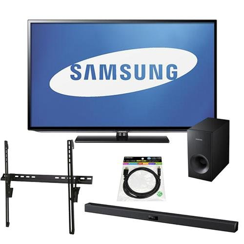 """Samsung 50"""" LED Flat Panel HDTV with 1080p Resolution, - Bundle With Samsung HW-F355 2.1 Channel Soundbar System with Subwoofer, Tilting TV Wall Mount for 32-65"""" Displays, HDMI Mini Cable 6'"""