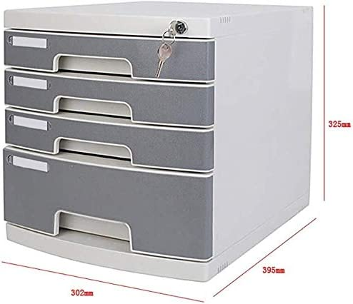 File Cabinets Friendly Plastic-Grey Durable Plastics Four-Layer Lock Upper Drawers Useful Drawer File Storage Blank Label Plastic 30.2x39.5x32.5cm Home Office Furniture