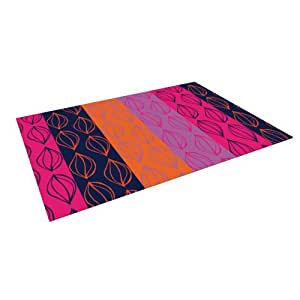 "Kess InHouse Anneline Sophia ""Tropical Seeds"" Pink Orange Outdoor Floor Mat/Rug, 8-Feet by 8-Feet"