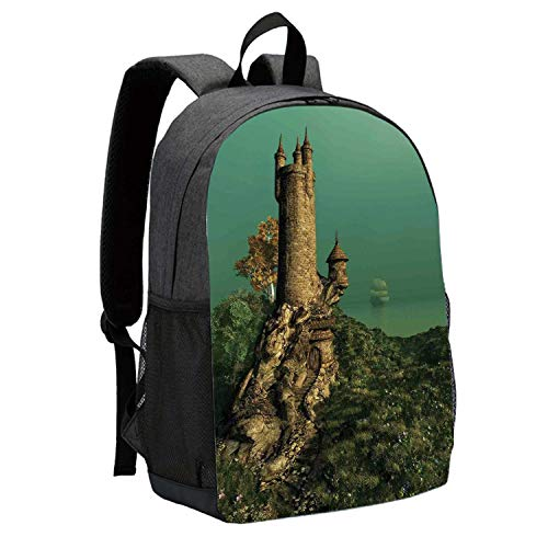 Medieval Durable Backpack,Tower of Magician on Hill With Flower Meadow Greenery Fairytale Design for School Travel,12