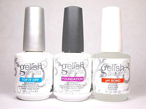 Gelish Gel LED Foundation Base Coat + Top It Off Coat + pH Bond 15 mL Polish