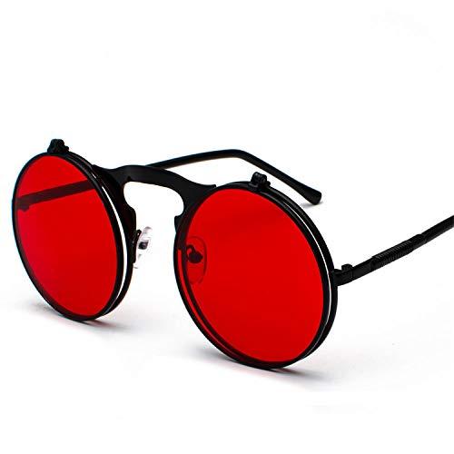 29ff190ff8129 JOMYY Unisex Retro Steampunk Sunglasses Flip Up Green Yellow Red Small  Round Summer Style Unisex Sun
