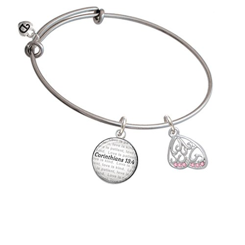 Open Pink Crystal Butterfly Wing - Bible Verse Corinthians 13:4 Glass Dome Bangle Bracelet