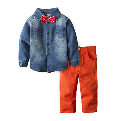 BIG ELEPHANT Boys' 2 Piece Cowboy Long Sleeve Jeans Outfit Denim Clothing Set H18
