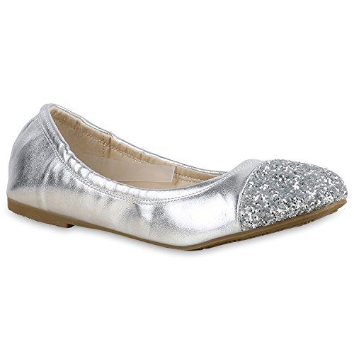 Bommel Silber Ballerinas Slipper Velours Strass Silber Slip Metallic Ons Schuhe Flandell Schleifen Lack Damen Ballerina Glitzer Flats Pailetten Stiefelparadies Glitzer EIwT0qOI