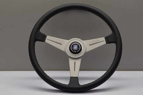 (Nardi Steering Wheel - Classic - 390mm (15.35 inches) - Black Leather with Grey Stitching and White Anodized Spokes - Aluminum Ring - Part # 6061.39.1001)