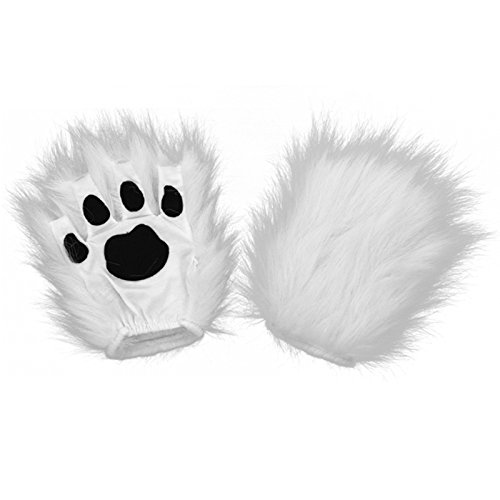 elope Costume Fingerless Kitty Paws White, One (Kitty Costumes)