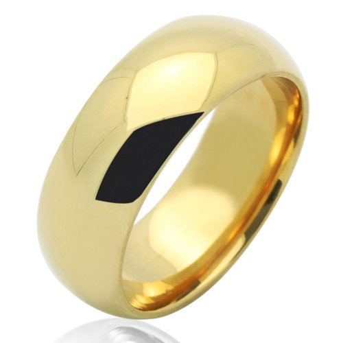 Double Accent 14K Yellow Gold 7mm Comfort Fit Plain Wedding Band (Size 5 to 12), 6