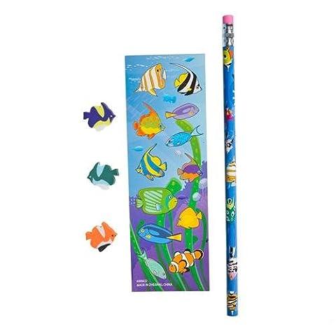 Tropical Fish Stationery Sets (1 dz) - Fish Eraser