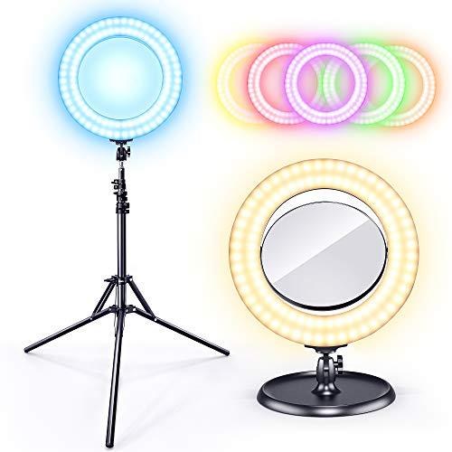 """Gimars Upgrade One Hand to Adjust Warm/Cold/RGB Color 14"""" LED Ring Light Dimmable 190 cm Lighting Tripod Stand for Camera Photo Video,Make Up, YouTube, Portrait and Photography Lighting"""
