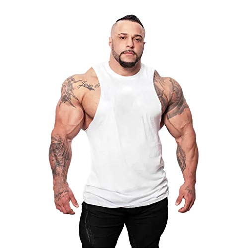 iHPH7 Mens Vest Mens Tank top red Tank top Sleeveless Workout Shirts for Men Sleeveless Shirt Mens Sleeveless t Shirts Vest Shirt Safety Vest Sleeveless t Shirt XXL 2- White ()