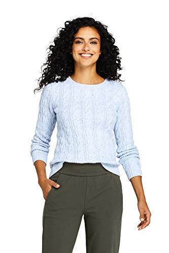 Lands' End Women's Drifter Cotton Cable Knit Sweater Crewneck ()