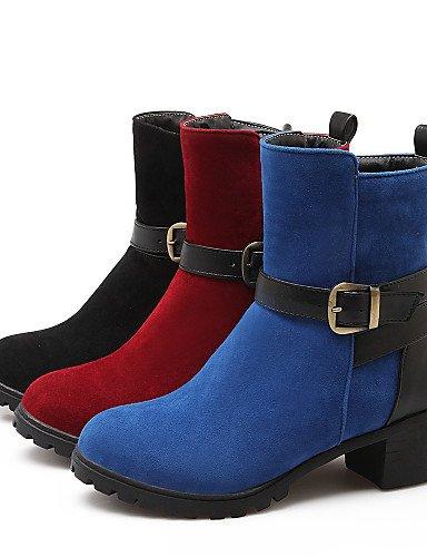 us6 Vestido Mujer Zapatos Eu36 Eu42 Uk8 Semicuero Cn43 Robusto Redonda 5 Red Tacón Vellón 5 negro A Punta La Cn36 Botas Uk4 Casual De Moda Xzz Red us10 Moto wCE47w
