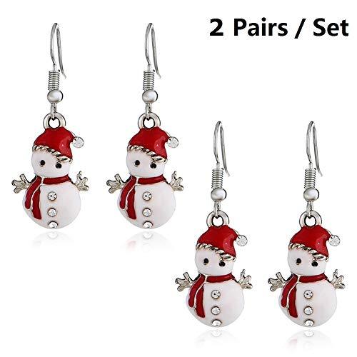 Christmas Snowman Earrings, Handmade Christmas Dangle Hook Earrings Holiday Party Drop Earrings Themed Earrings Small Cute Doll Christmas Costume Jewelry Festival Gift Idea for Women | Girls (2 Pairs) ()
