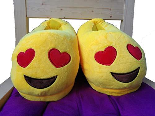 De Intérieur Chaud Tout D'hiver Emoji Ménage Femmes Démon Dessinée 02 Talon Pantoufles Smiley Bande Merde Chaussures Peluche Jaune Visage En Coton Enfant xIUndf