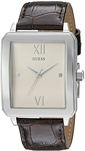 GUESS Men's U0918G1 Dressy Silver-Tone Watch with Plain White Dial  and Genuine Leather Band