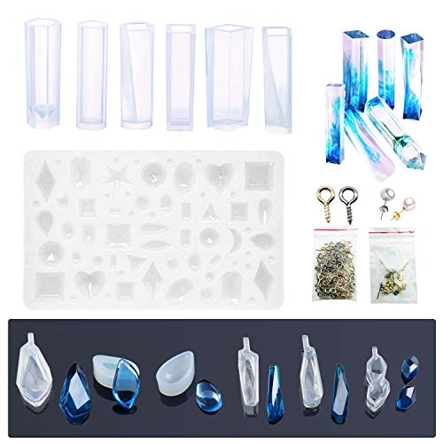 Woohmone Silicone Resin Kits Casting Molud Included 13 PCS Pendant Moulds, 10 PCS Stud Earrings and 100 PCS Eye Screw Pins for Craft Making DIY