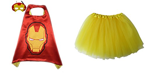 Superhero or Princess TUTU, CAPE, MASK SET COSTUME - Kids Childrens Halloween (Ironman - Red & Yellow)