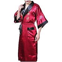 Leright Men's Kimono Robe Dragon Reversible Lingerie Sleepwear Summer Pajamas