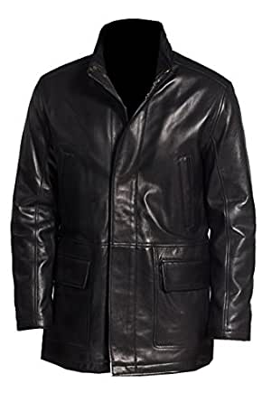 VearFit Men's Handro Trench Coat Real Lamb-Skin Leather