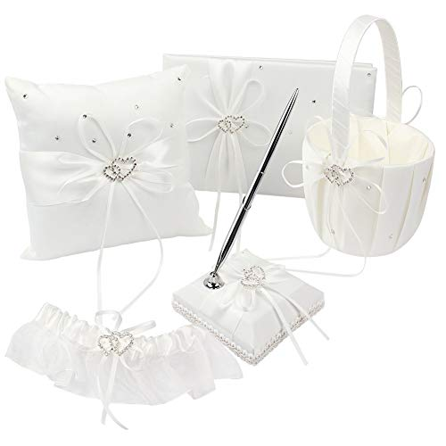 KANECH 5pcs Sets-Ivory Satin- Wedding Flower Girl Basket and Ring Bearer Pillow Set (Ring Pillow + Flower Girl Basket + Wedding Guest Book +Pen Set + Garter Cover)