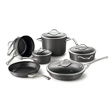 Calphalon Contemporary Hard-Anodized Aluminum Nonstick Cookware, Set, 11-Piece, Black