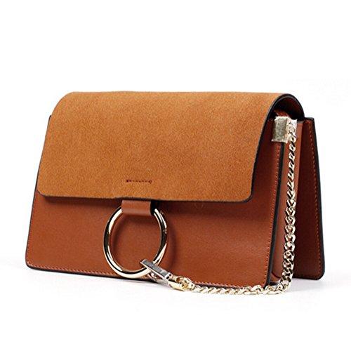Actlure Genuine Leather Crossbody Shoulder Bag Purse Chain (Suede Satchel Bag)