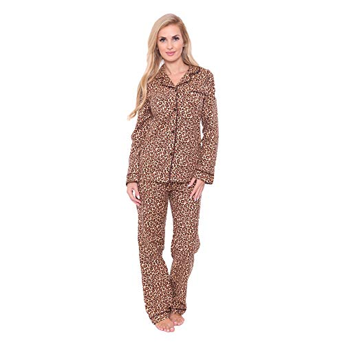 Women's Premium Cotton Flannel Pajama Sleepwear Set in Cheetah - Medium from White Mark