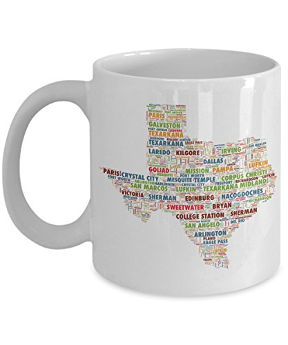 Texas Cities In The Shape Of The State 11 oz Coffee Mug