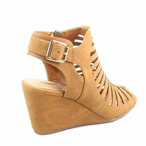 City Classified Suntan-s Womens Peep Toe Strappy Caged Ankle Wedge Heel Bootie Sandal Tan AxmEtqxBph