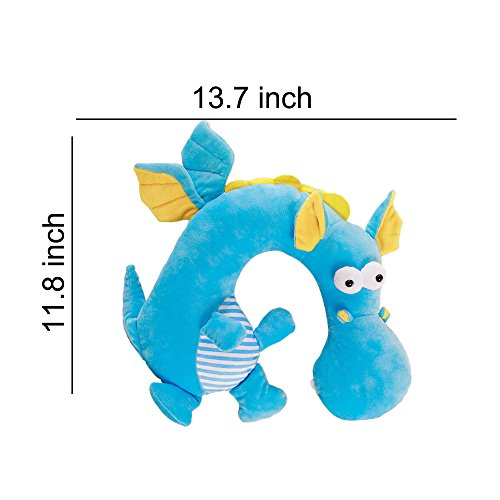 LUCKSTAR U-shaped Pillow - Soft & Small Cartoon Neck Pillow Comfortable Travel Pillow Animal Travel Neck Pillow Plush Toy Provides Relief and Support for Neck Pain Suit for Travel, Home (Blue Dragon) by LUCKSTAR (Image #3)