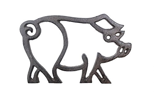 Handcrafted Nautical Decor Cast Iron Pig Shaped Trivet 8''- Decorative Cast Iron - Animal Trivet by Handcrafted Nautical Decor