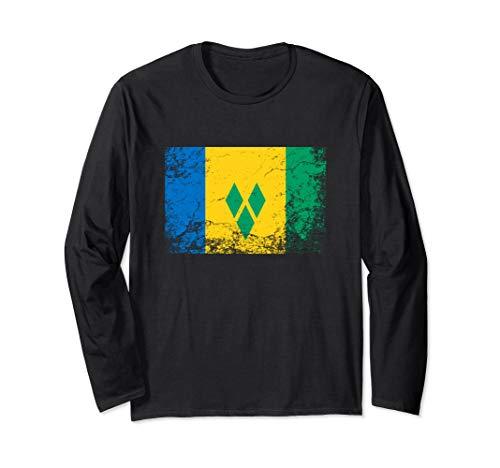 Saint Vincent and the Grenadines National flag vintage gift  Long Sleeve T-Shirt