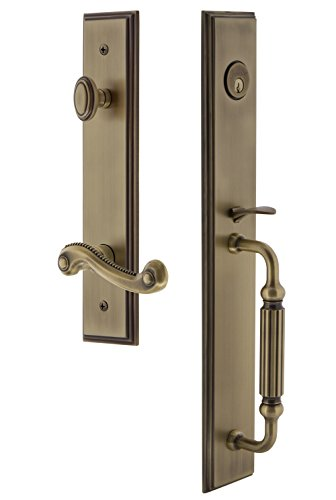 Grandeur 847452 Hardware Carre' One-Piece Handleset with F Grip and Newport Lever Size, Single Cylinder Lock-2.375