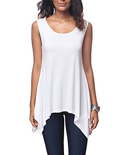 AIDIER Tank Tops Women Roundneck Casual Flowy Sleeveless Blouse Shirt