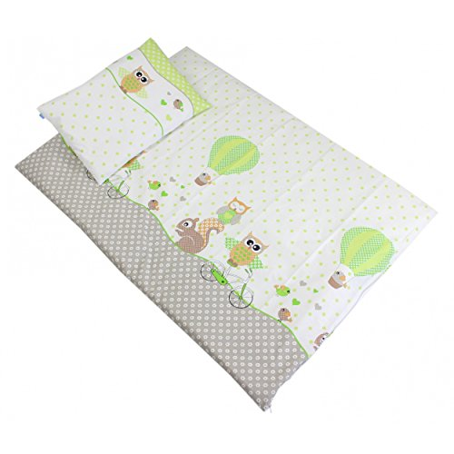 Baby Bettwäsche 2 tlg. Set 100% Baumwolle Bettset Kinderbettwäsche Eulen- Tiermotiv Babybettwäsche 100x135 cm, Farbe: Eulen Grün, Größe: 135x100 cm