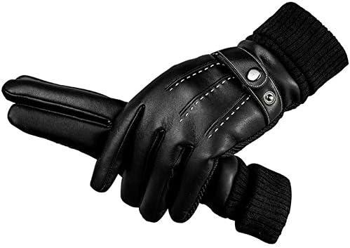 手袋 日常 実用 レザーグローブは肥厚プラスベルベットタッチスクリーンコールドウォームメンズ冬の乗馬グローブ (Color : Black, Size : One size)