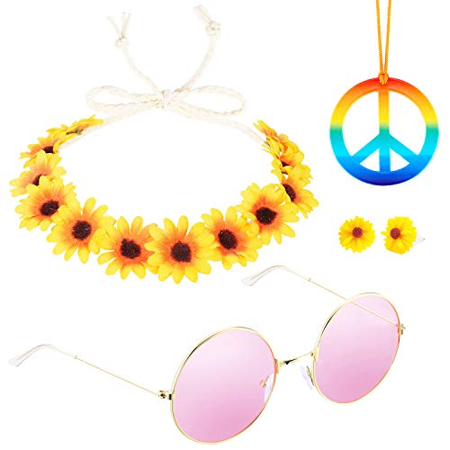 Konsait 4pack Hippie Costume Rainbow Peace Sign Necklace/Flower Crown Headband/Pair of Pink Circle Hippie Sunglasses/Bohemia Boho Sunflower Earrings Hippie Accessories for 60's 70's Dressing