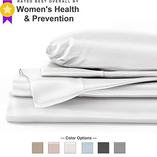 Mulberry Park 100% Pure King Silk Sheet Set 4 Pcs – 22 Momme 6A Mulberry Silk Bed Sheets with 17″ Deep Pocket – Breathable, Ultra-Soft, Oeko-TEX Certified, Seamless – White
