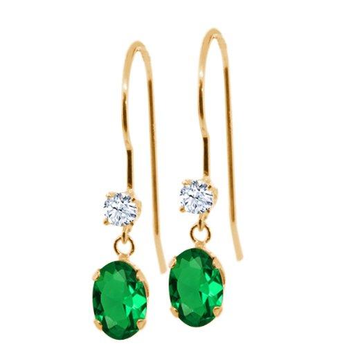 Gem Stone King 0.96 Ct Oval Green Nano Emerald White Topaz 14K Yellow Gold Earrings