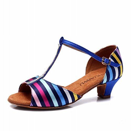 Sandalias Baile de Modern Zapatos Color Baile Zapatos de Tobillo de Latino Jazz 36 de Samba Baile Mujer BYLE Zapatos Cuero dwqzzP